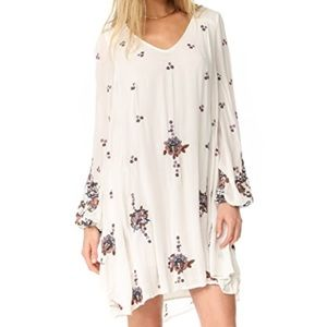 Free People Oxford Embroidered Mini Dress cream